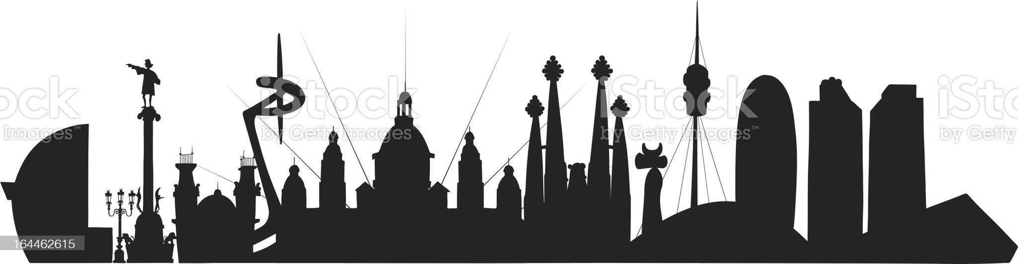 Barcelona Skyline royalty-free stock vector art