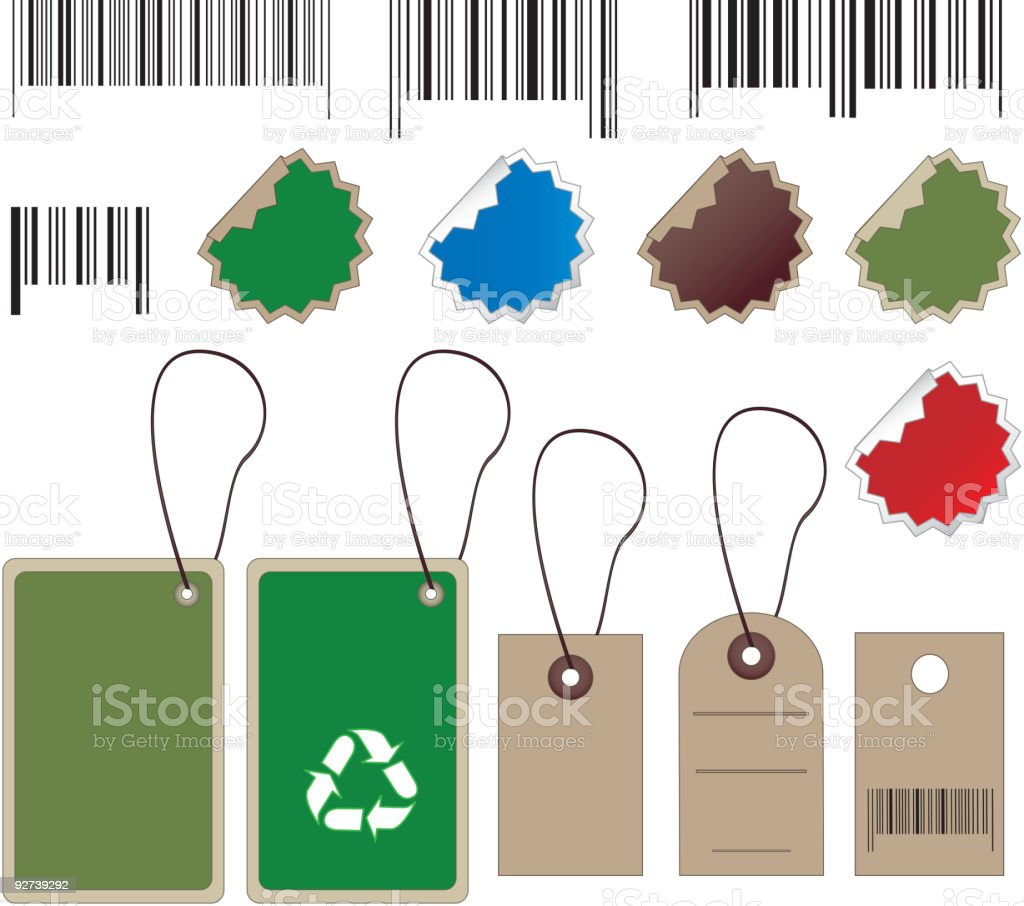 Barcodes, tally and labels royalty-free stock vector art