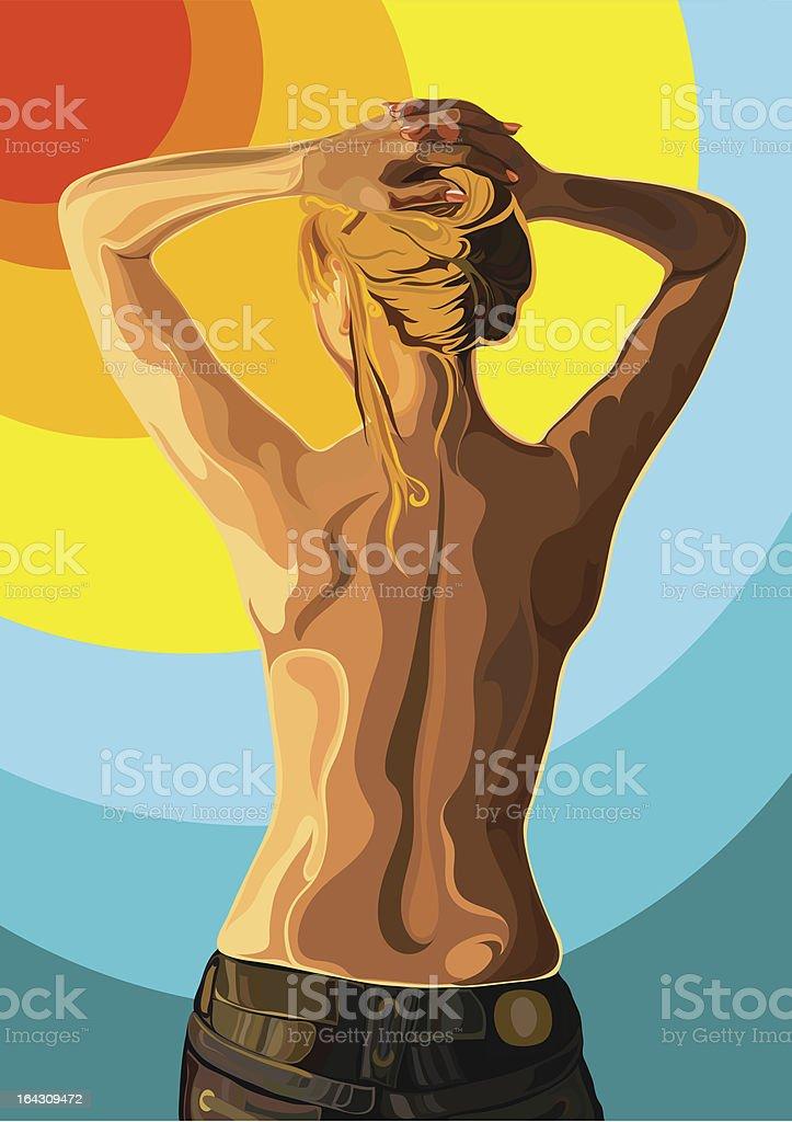 Bare back of woman vector art illustration