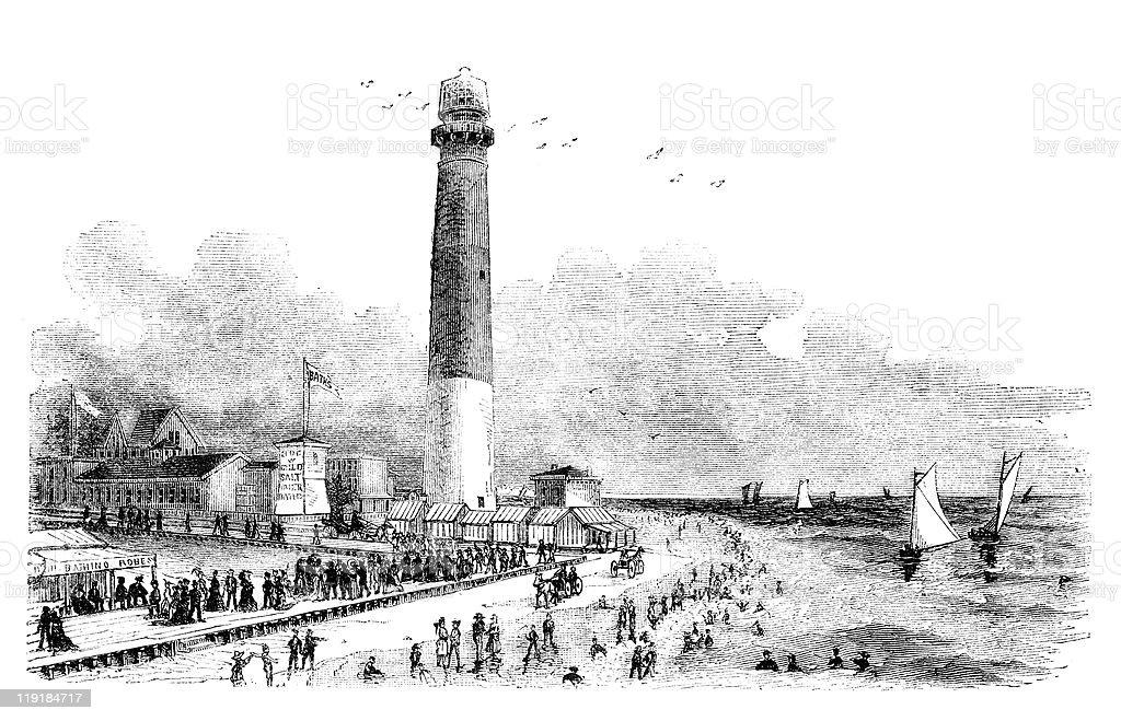 Barnegat Lighthouse vector art illustration