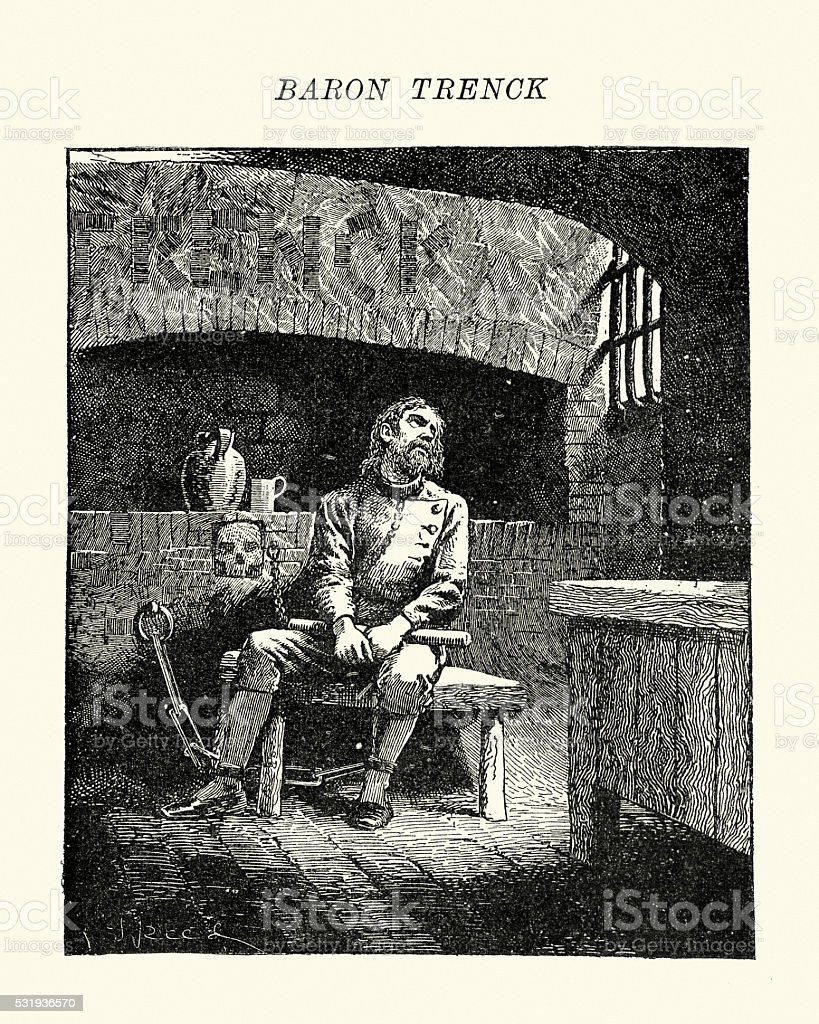 Baron Franz von der Trenck in Prison vector art illustration