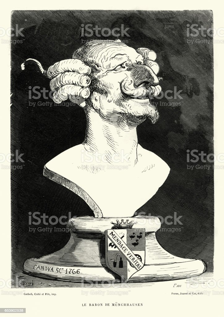 Baron Munchausen by Gustave Dore vector art illustration