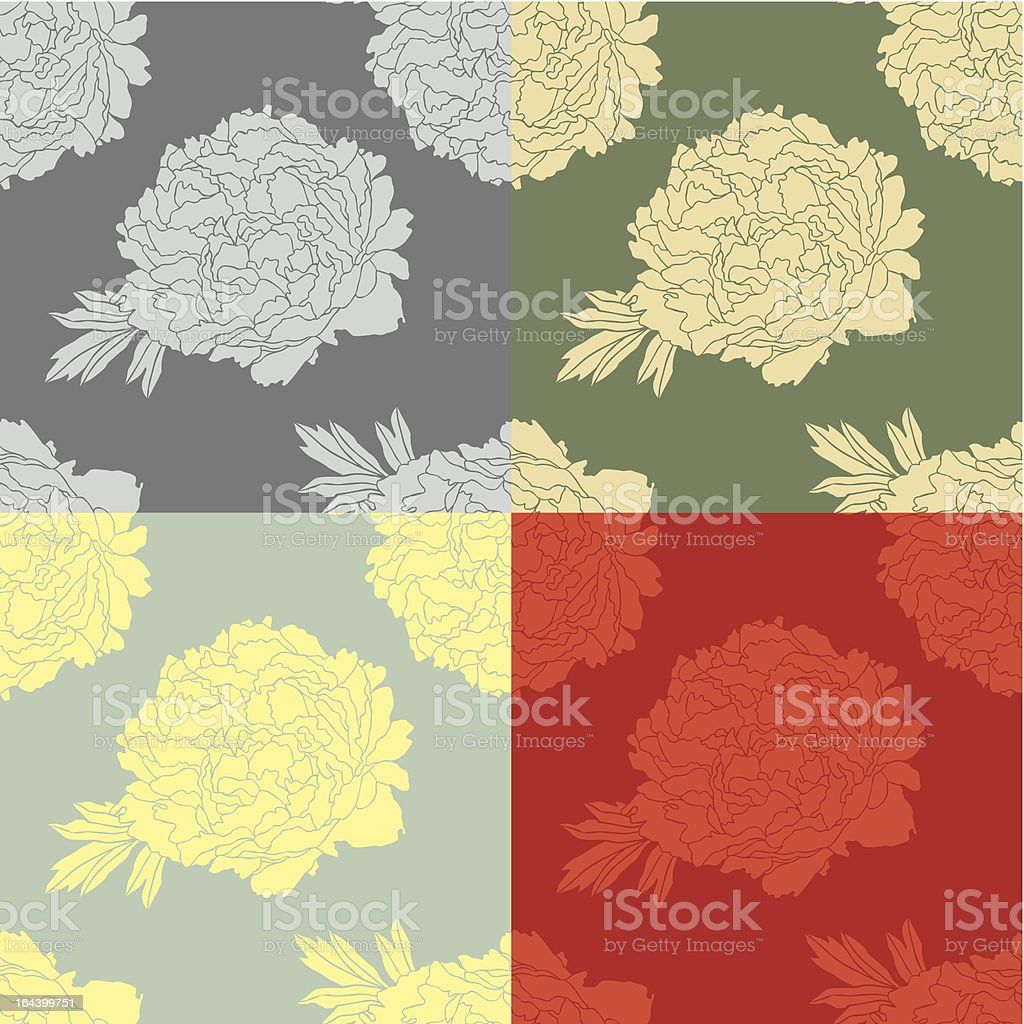 baroque wallpaper with peony royalty-free stock vector art