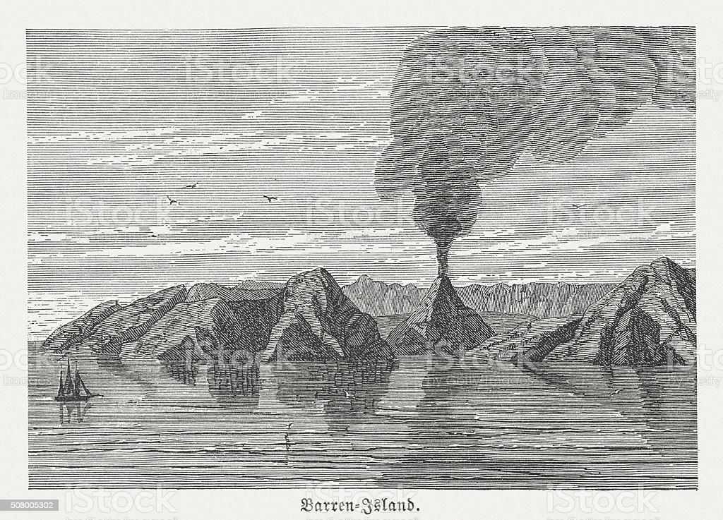 Barren Island (Andaman Islands), wood engraving, published in 1882 vector art illustration