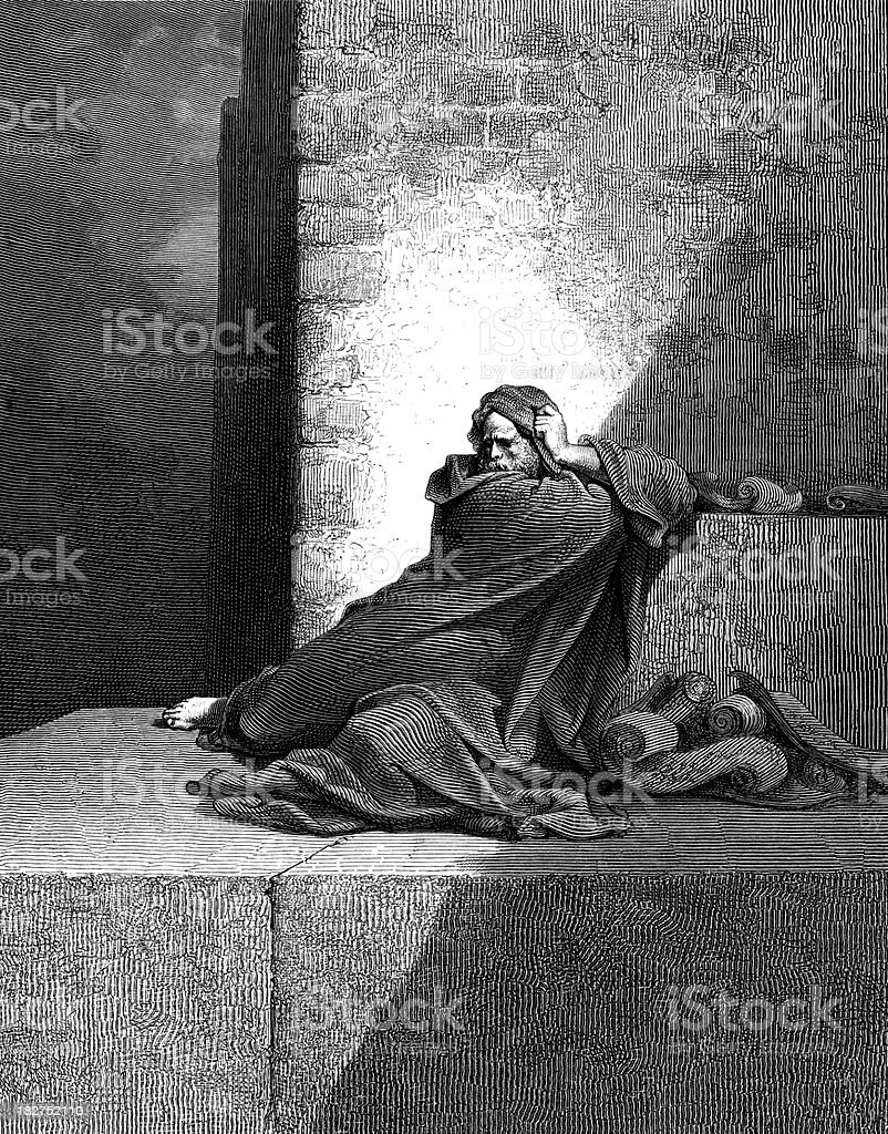 Baruch prophesies vector art illustration