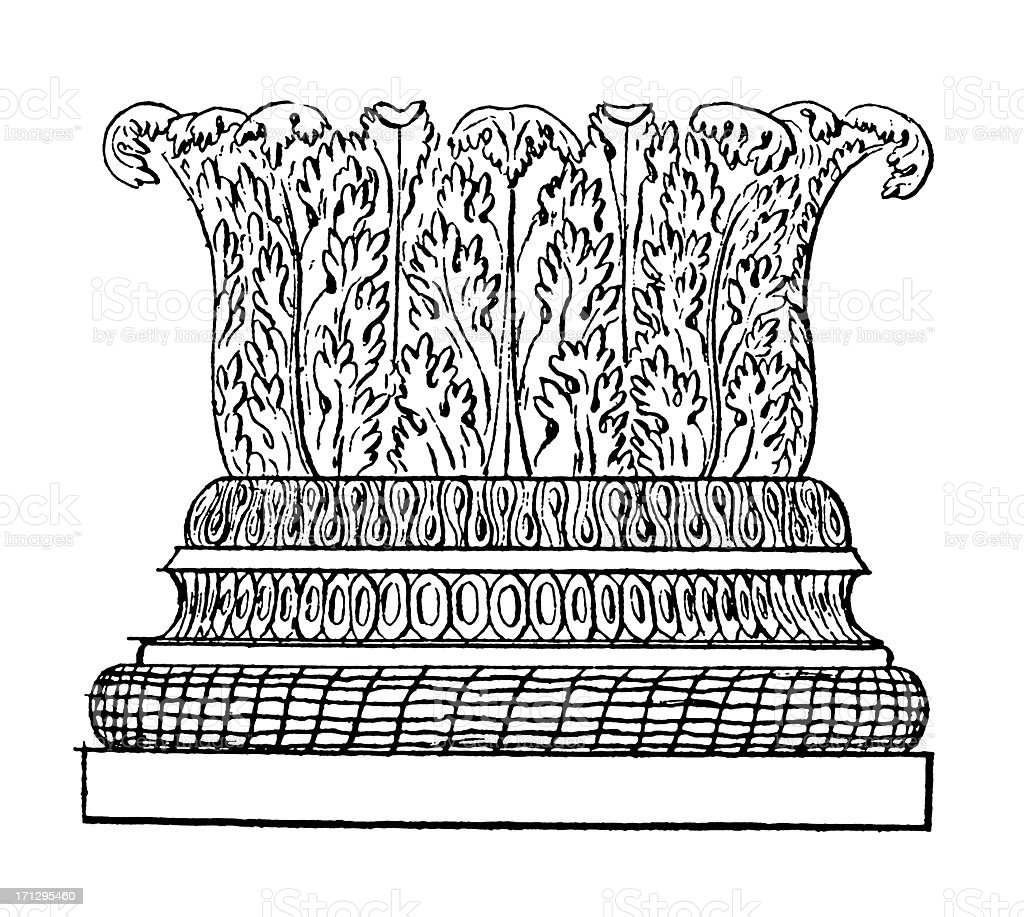Base of a Column | Antique Architectural Illustrations royalty-free stock vector art
