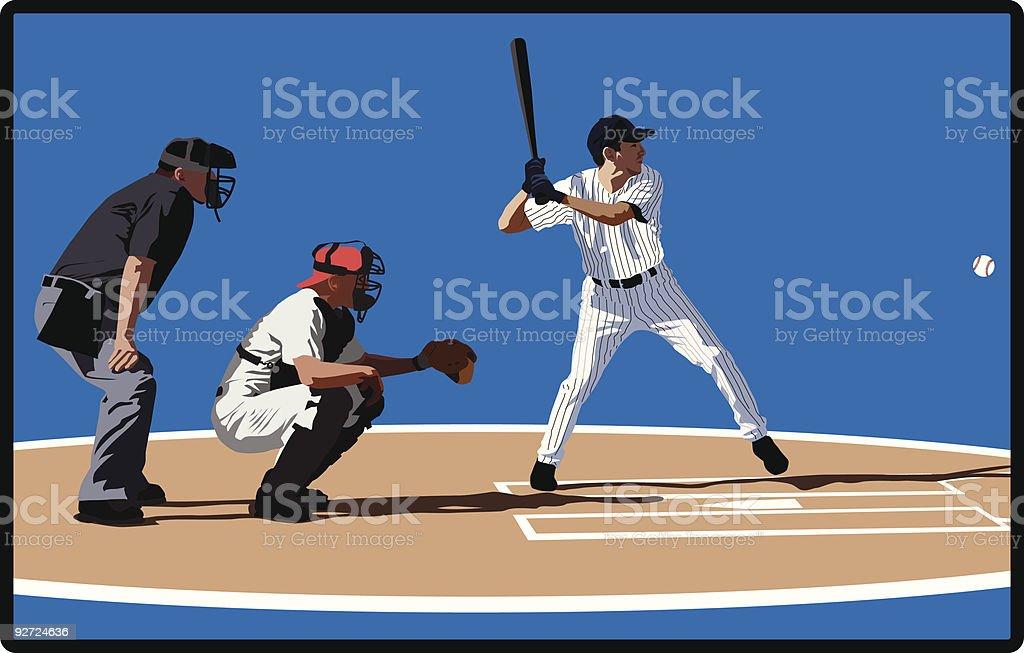 Baseball batter, catcher and umpire vector art illustration