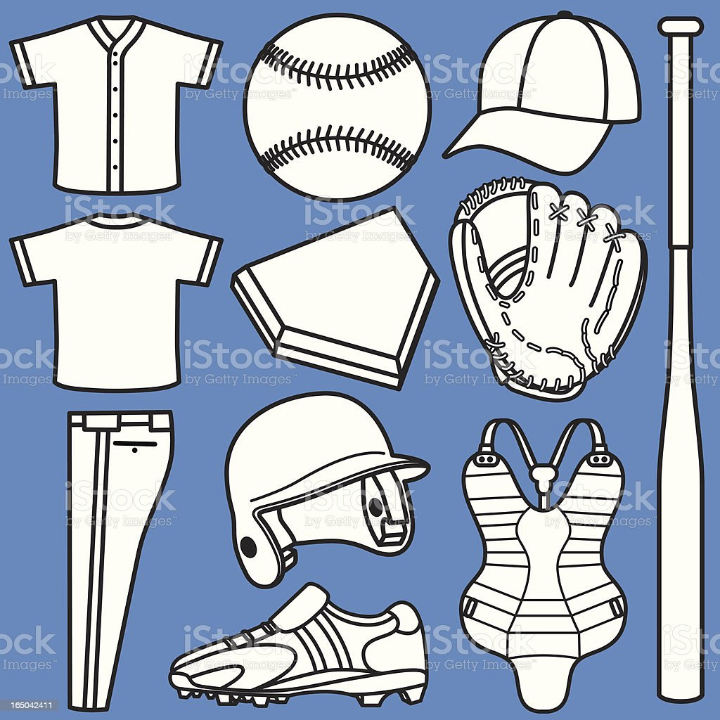 Baseball Equipment vector art illustration