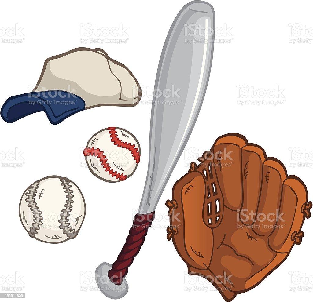 Baseball Equipment royalty-free stock vector art