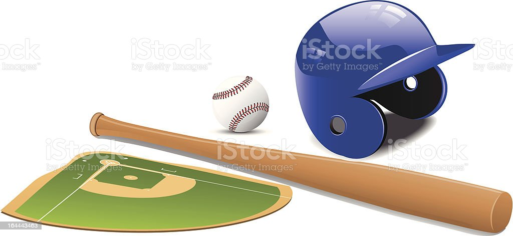 Baseball field, ball and accessories. royalty-free stock vector art