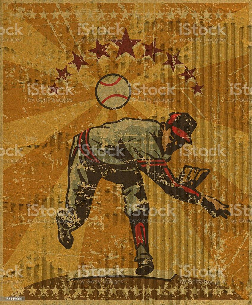 Baseball Pitcher Background, Torn Cardboard vector art illustration