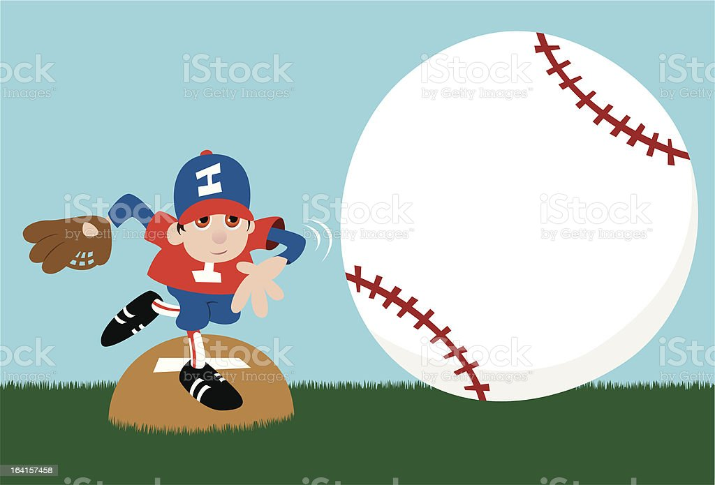 Baseball Pitcher Message Announcement vector art illustration