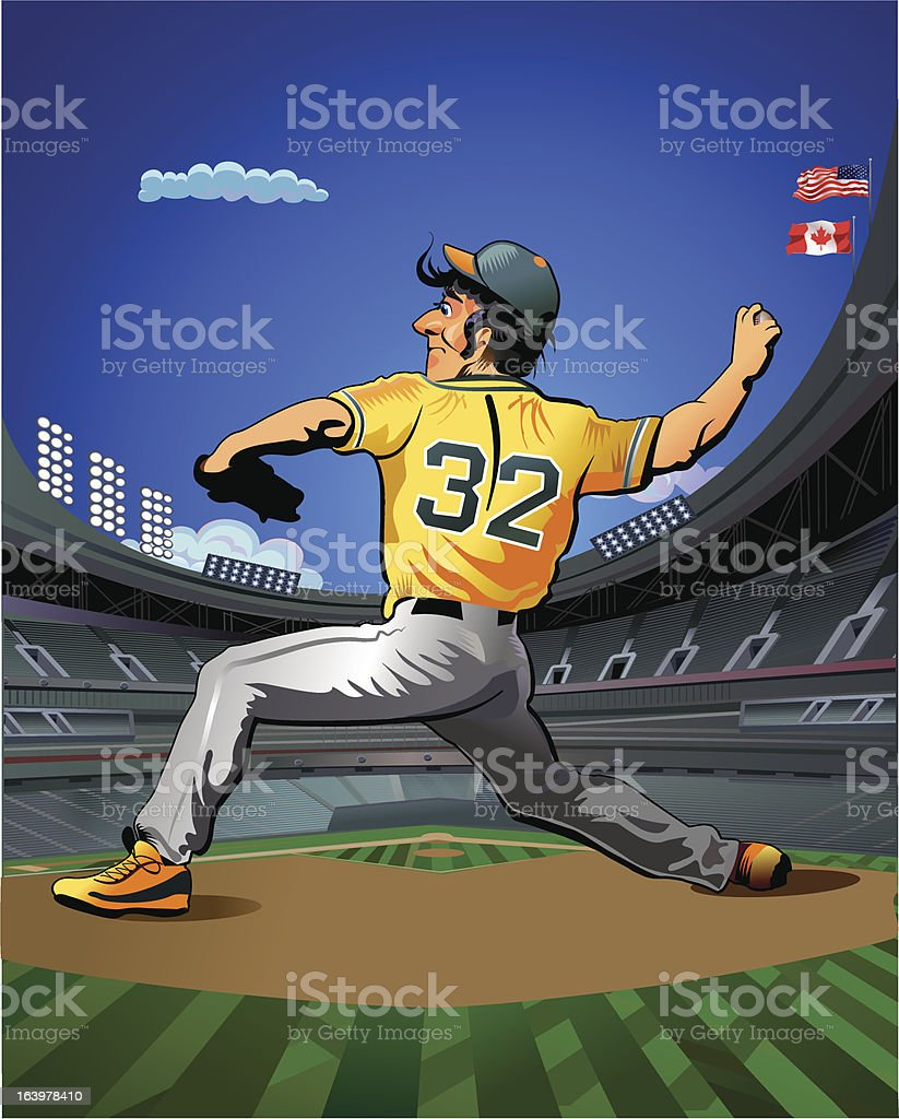 Baseball pitcher throws ball. Square shot. royalty-free stock vector art