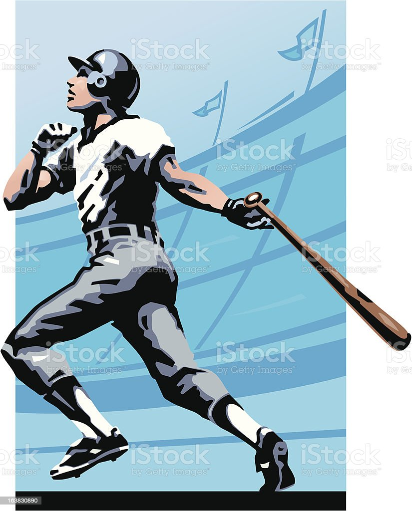 Baseball player at bat vector art illustration