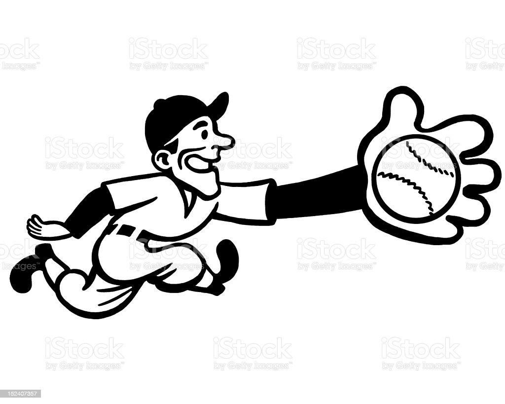 Baseball Player Catching Ball royalty-free stock vector art
