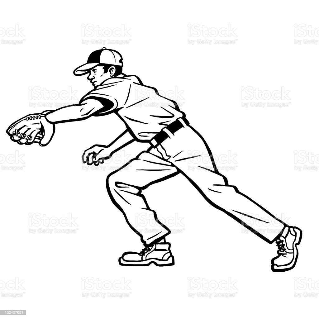 Baseball Player Going After Ball royalty-free stock vector art