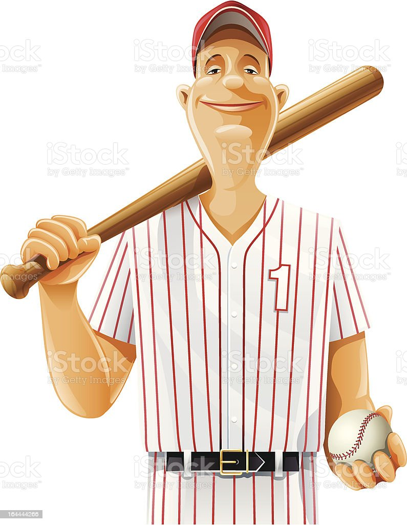 baseball player with bat and ball vector art illustration