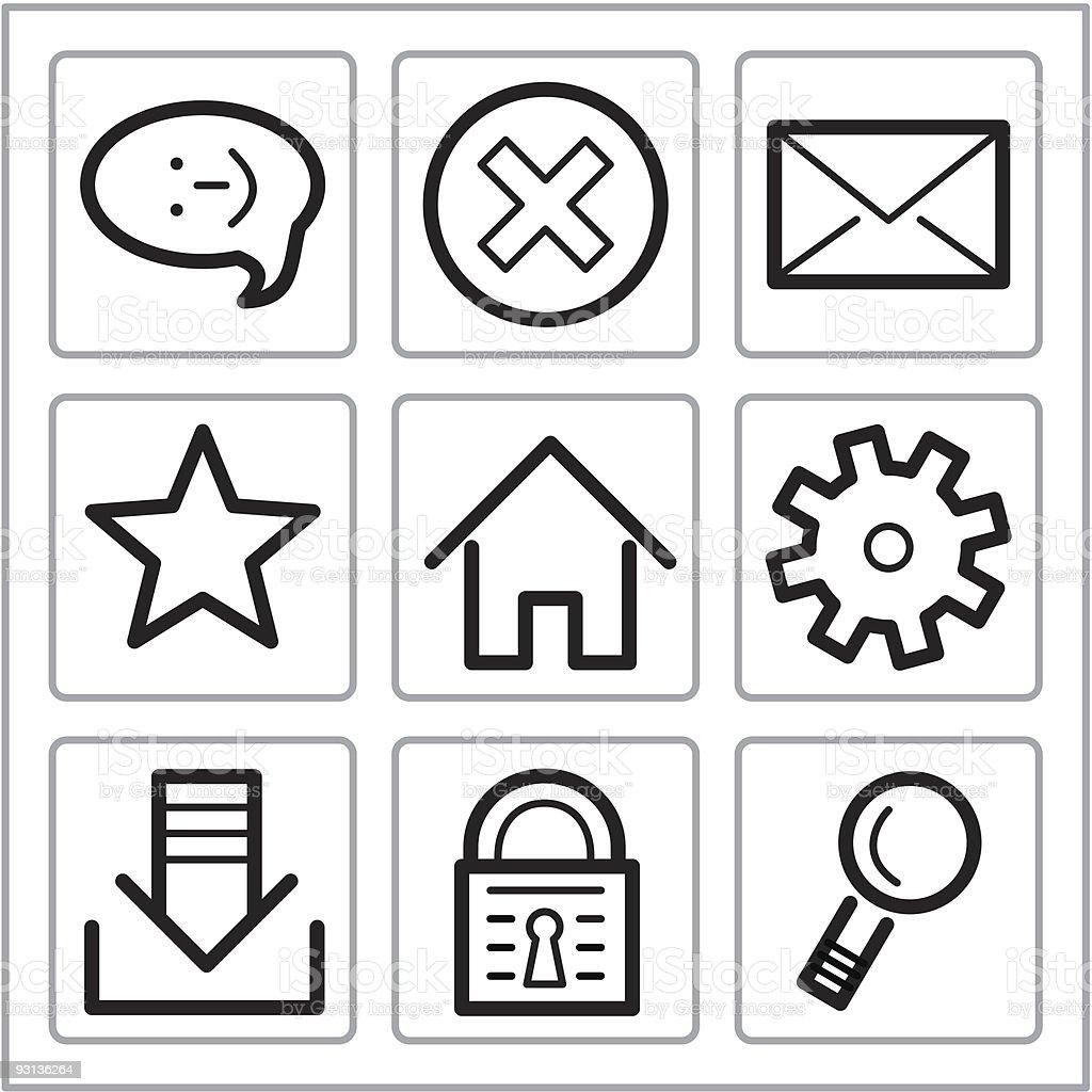 Basic icons set royalty-free stock vector art