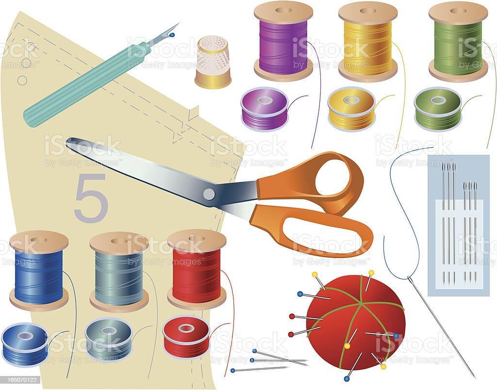 Basic sewing supplies royalty-free stock vector art