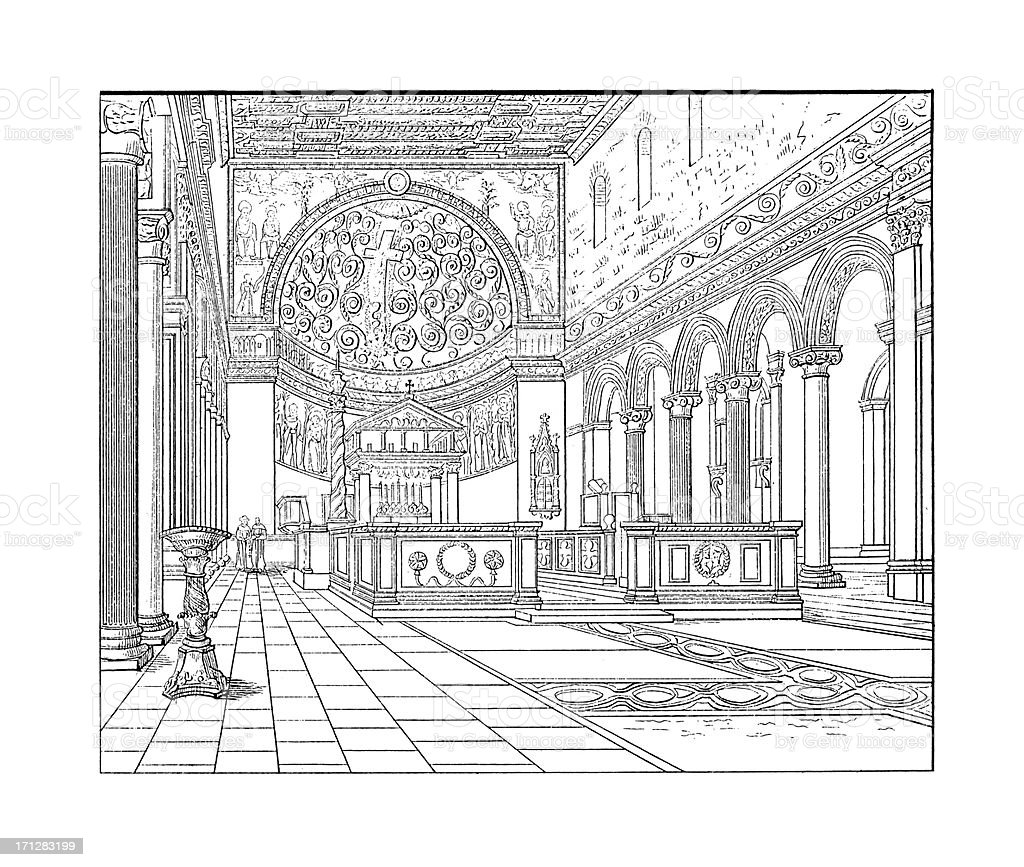 Basilica di San Clemente Interior, Rome, Italy | Architectural Illustrations royalty-free stock vector art