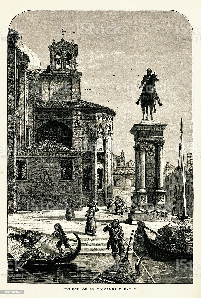 Basilica di San Giovanni e Paolo, Venice, Italy, wood engraving vector art illustration
