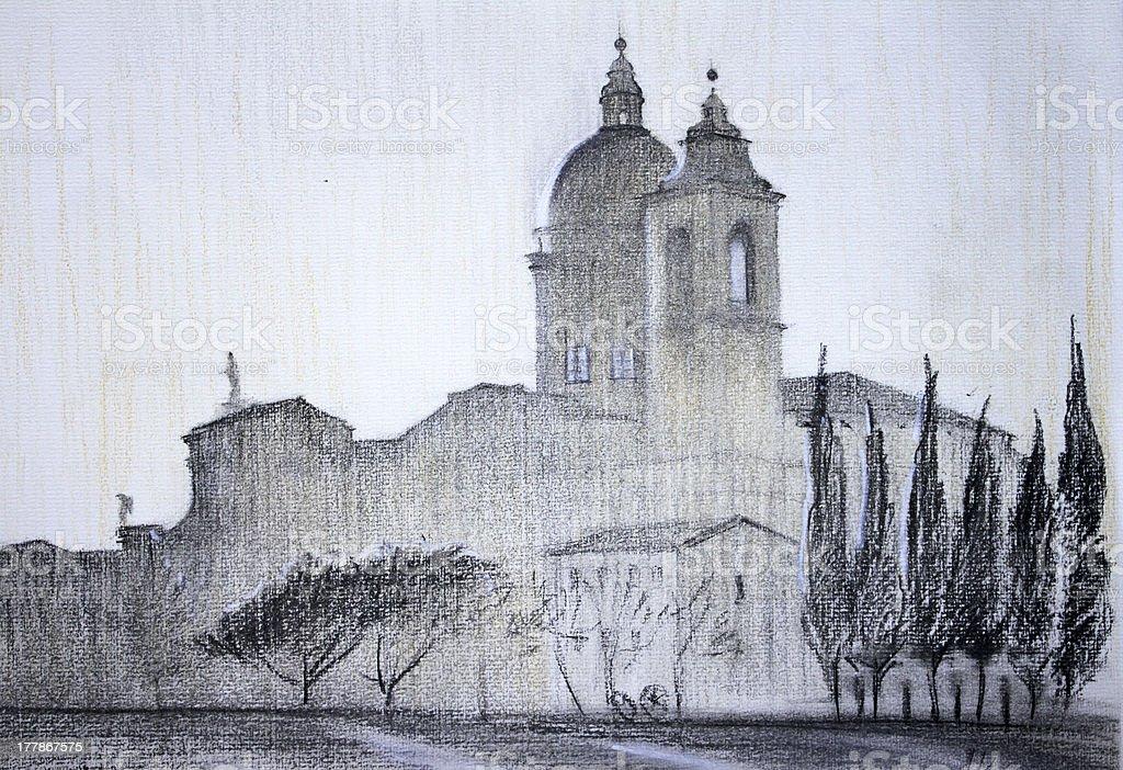 Basilica of Santa Maria degli Angeli in Assisi, Italy royalty-free stock vector art