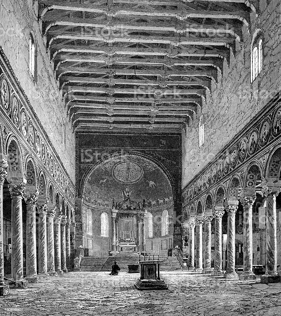Basilica of Sant'Apollinare in Classe, Ravenna, Italy royalty-free stock vector art