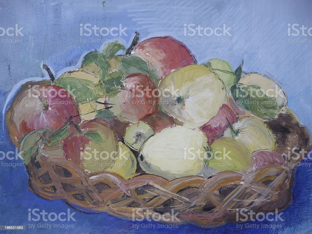 Basket full of apples royalty-free stock vector art