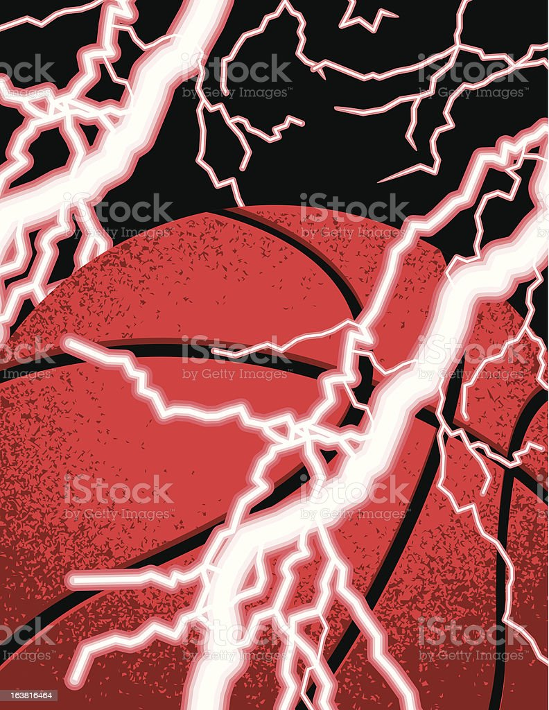 Basketball being struck by lightning royalty-free stock vector art