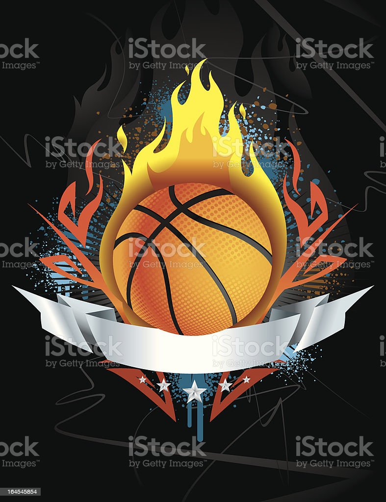 Basketball Flaming Crest vector art illustration