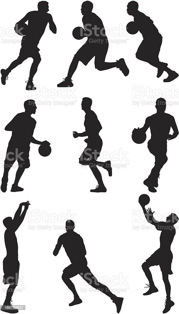 Basketball players fastbreak vector art illustration