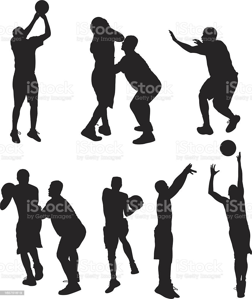 Basketball players going one-on-one vector art illustration