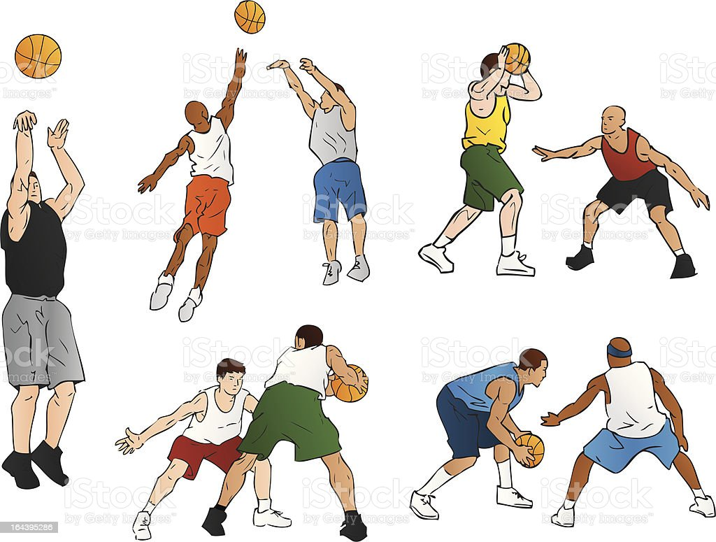 Basketball Players (Vector Illustration) royalty-free stock vector art