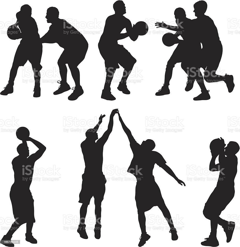 Basketball players in action vector art illustration