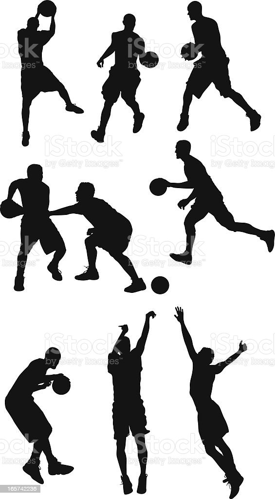Basketball players showing their skills on the court royalty-free stock vector art