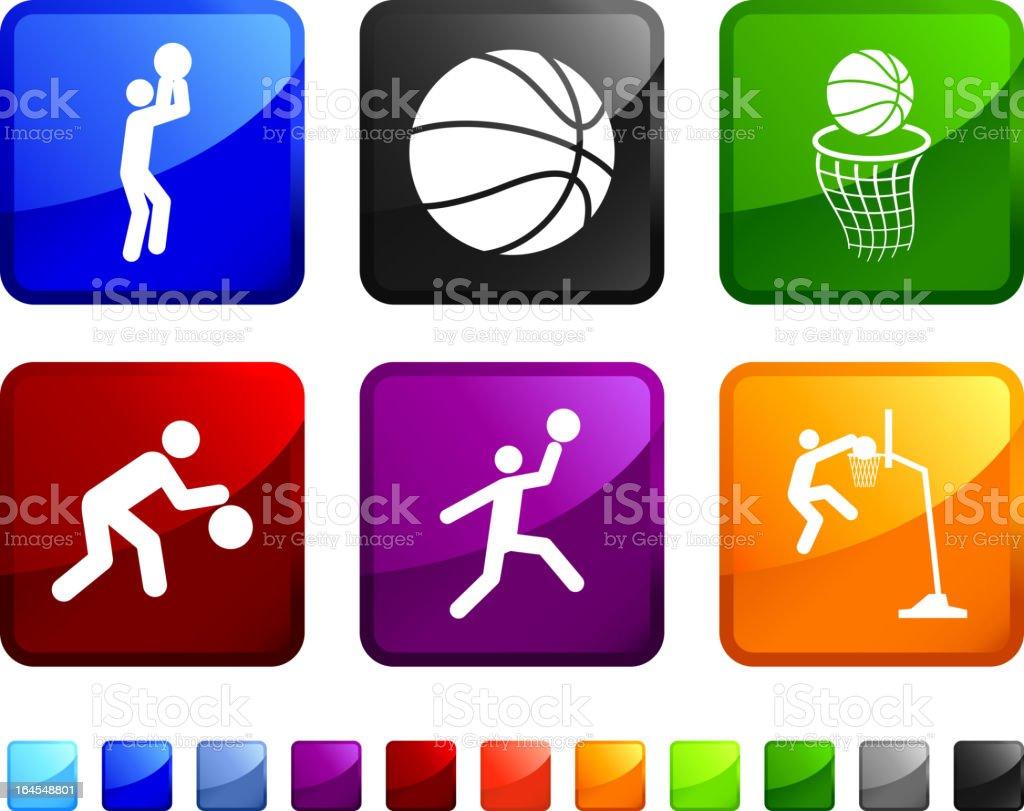 Basketball royalty free vector icon set stickers vector art illustration