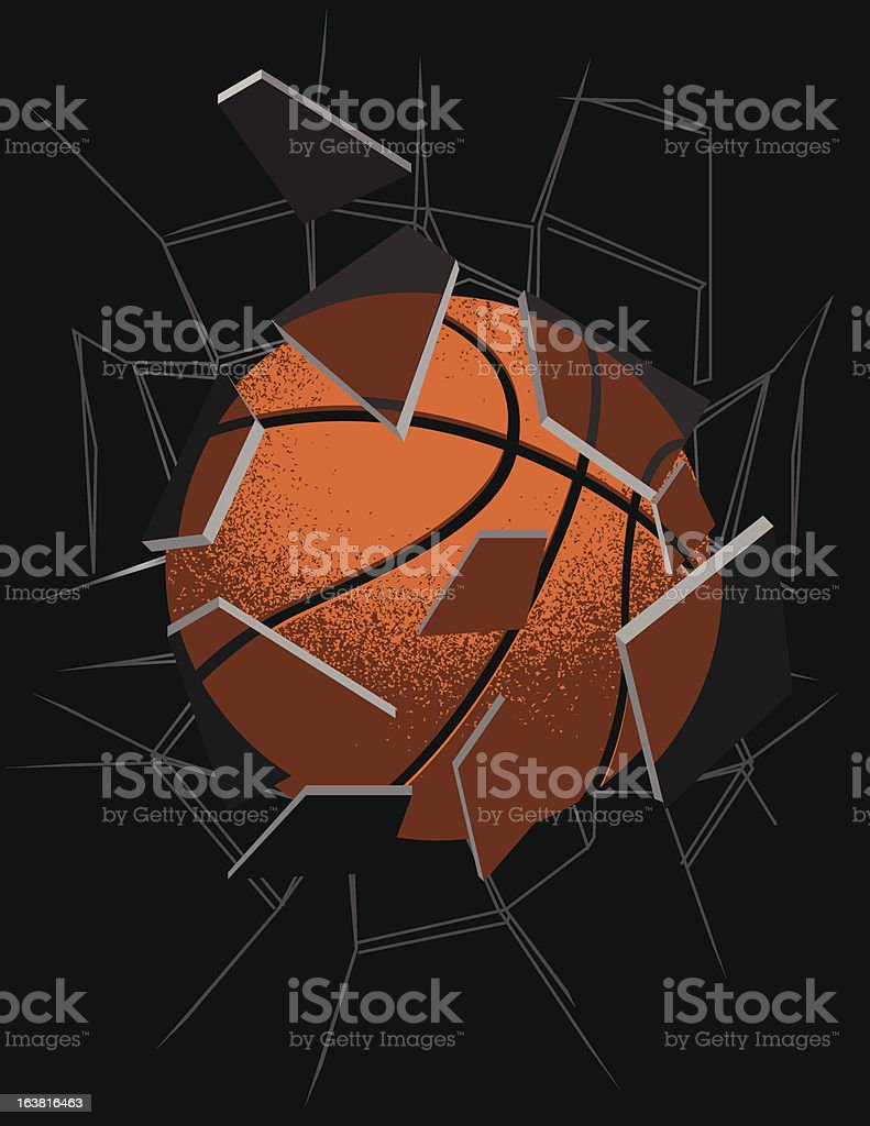 Basketball smashing through glass vector art illustration