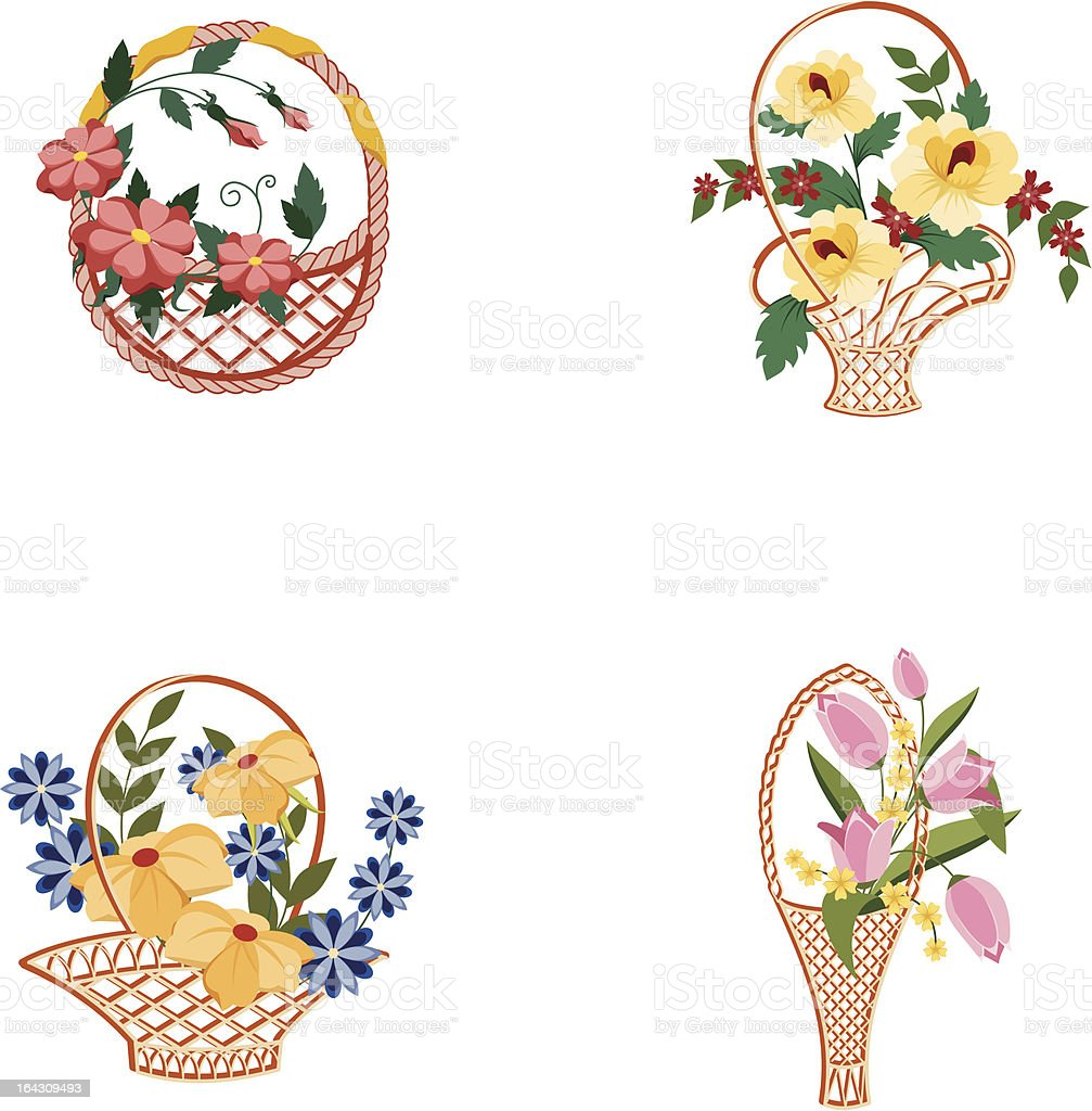 Baskets with flowers vector art illustration