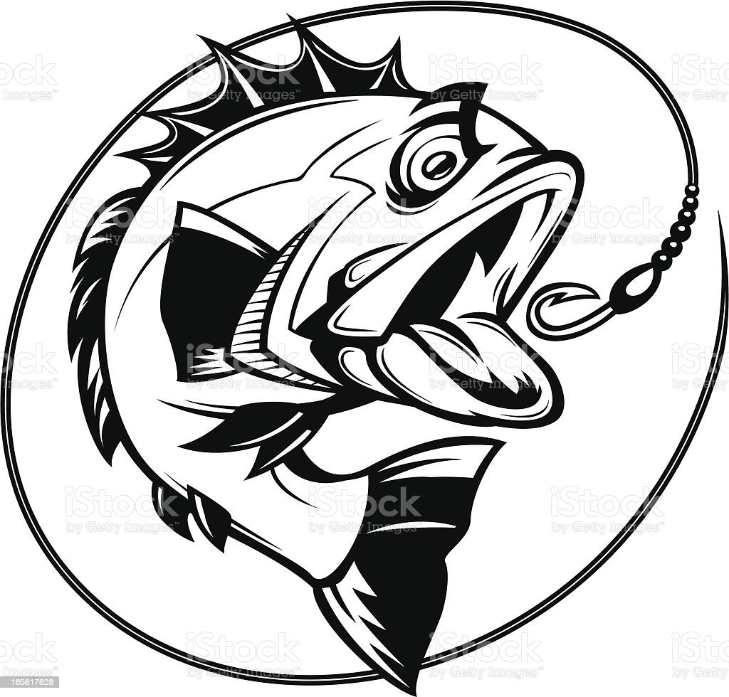 bass fishing graphic vector art illustration