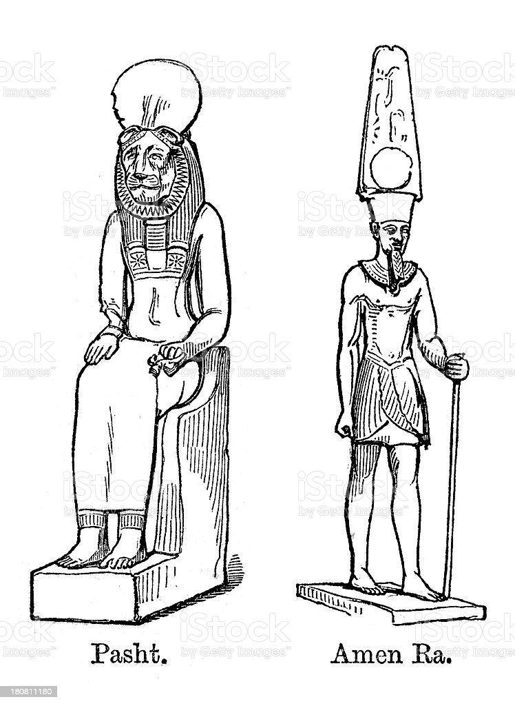 Bastet and Amen Ra royalty-free stock vector art