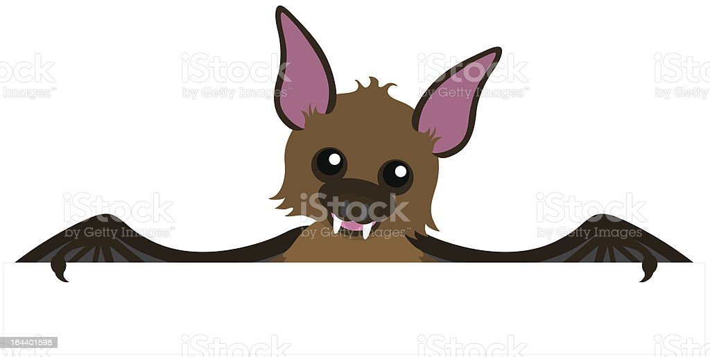 Bat peeping over the top of a blank sign. royalty-free stock vector art