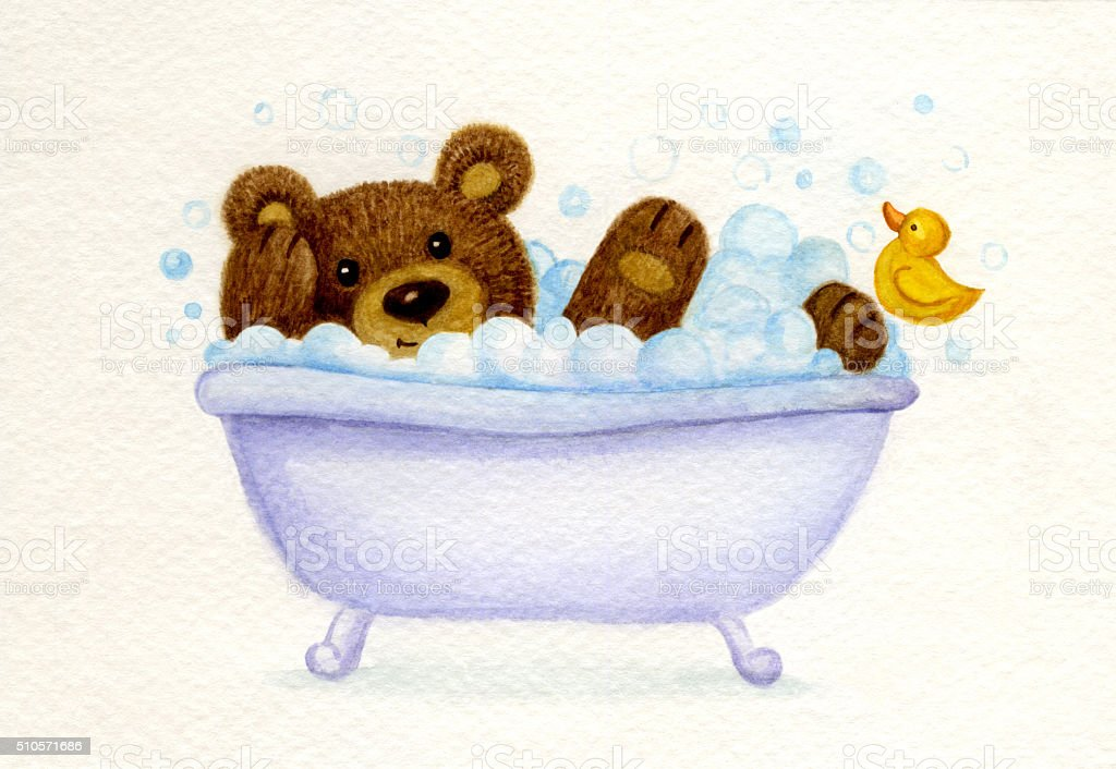 Bathing  bear. vector art illustration