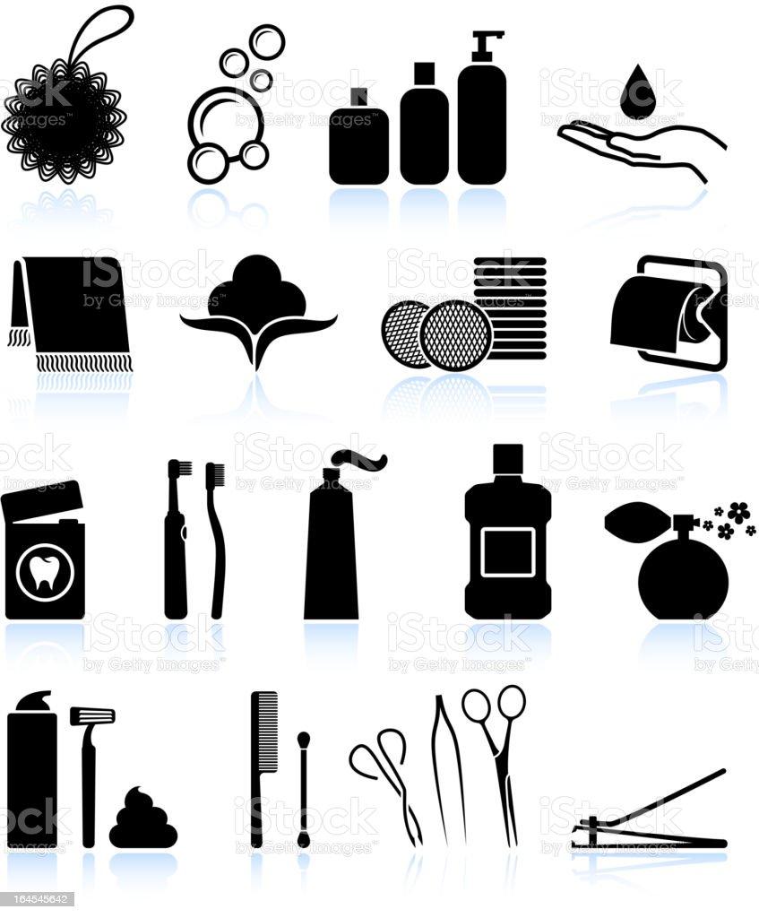 Bathroom accessories black and white icon set vector art illustration
