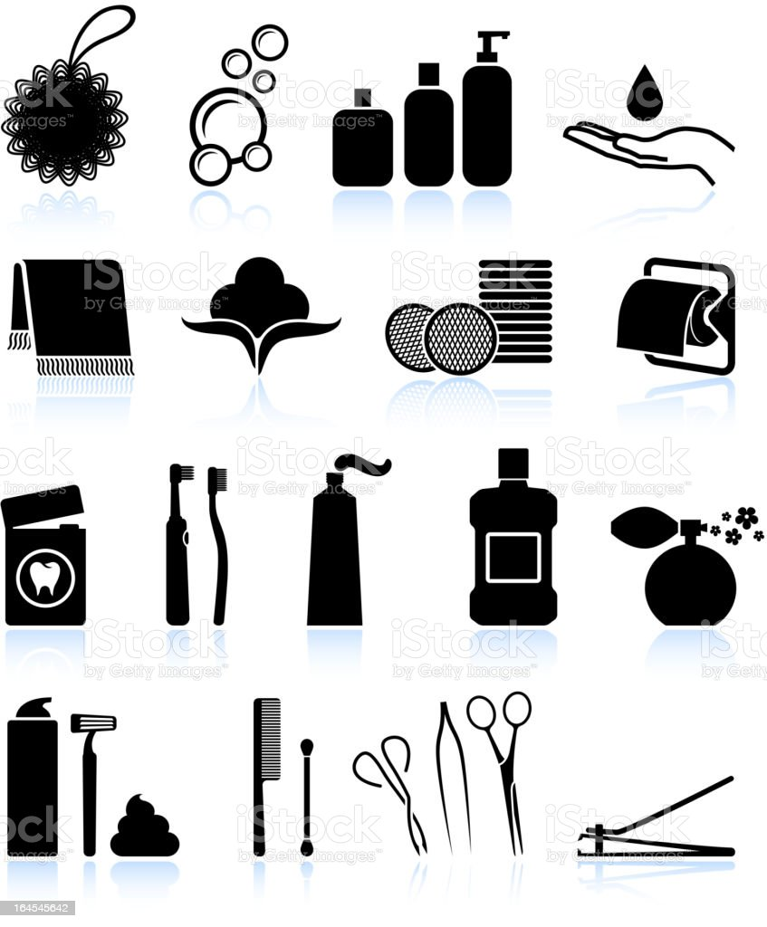 Bathroom accessories black and white royalty free vector icon set vector art illustration