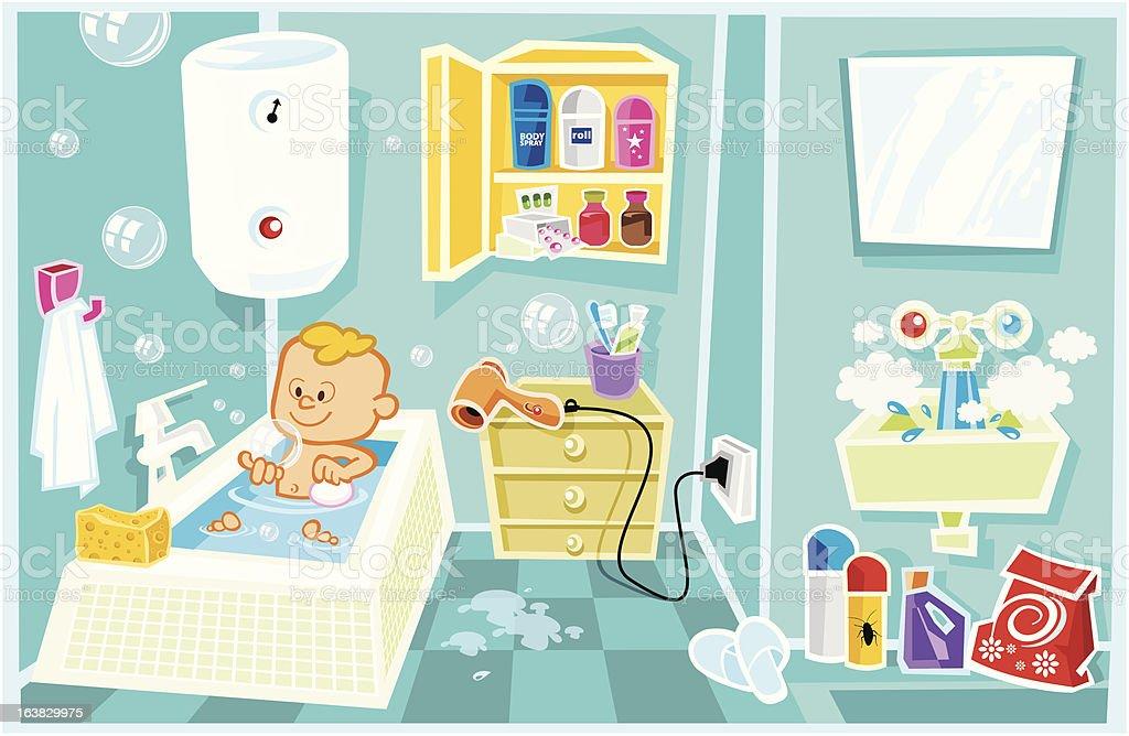 Badezimmer Gefahren Lizenzfreies Vektor Illustration
