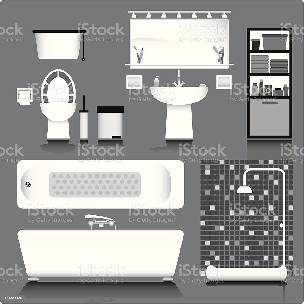 bathroom in black & white royalty-free stock vector art