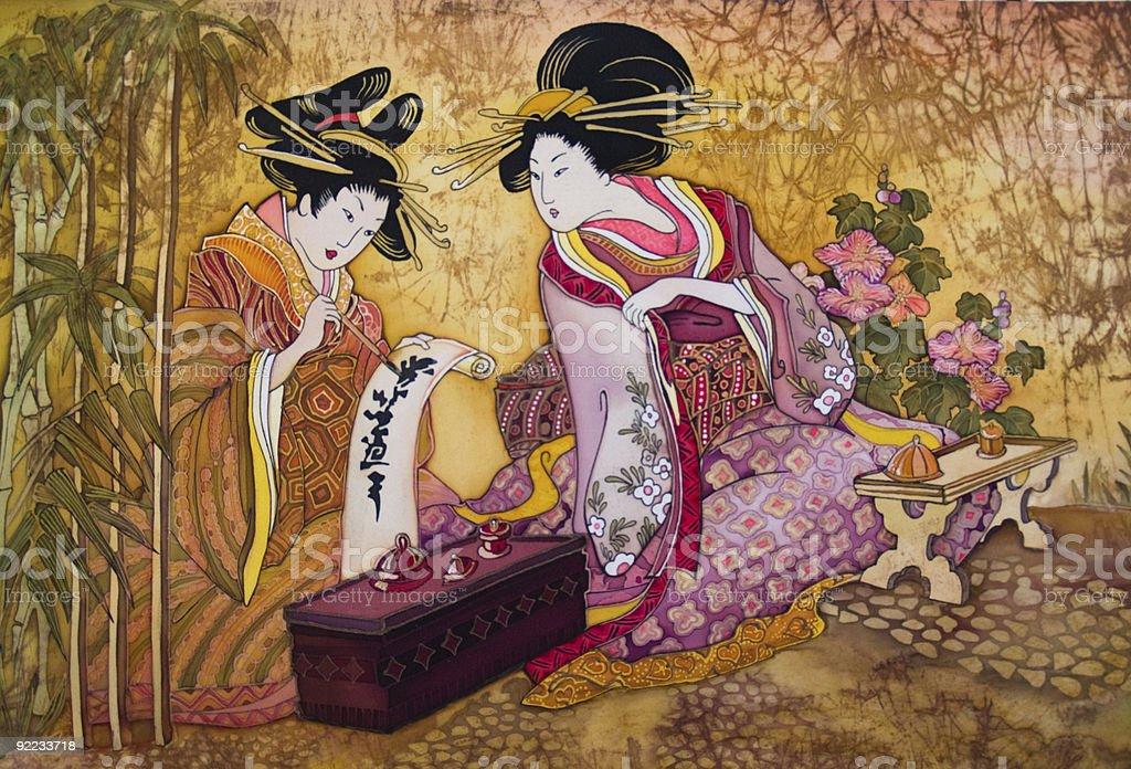 batic geisha vector art illustration