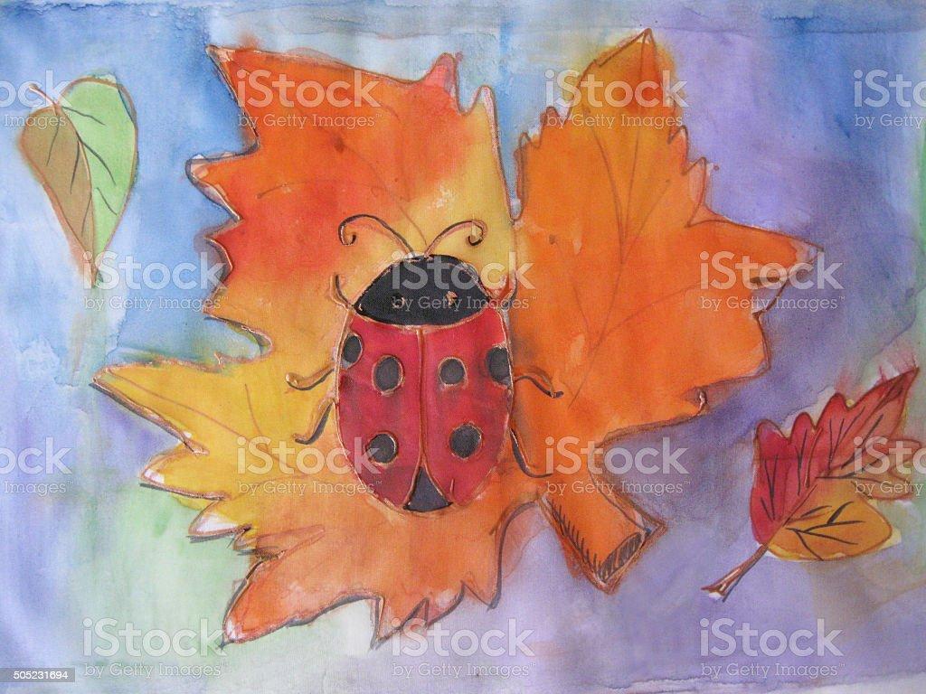 Batik autunno foglie d'acero e rovere, birch illustrazione royalty-free