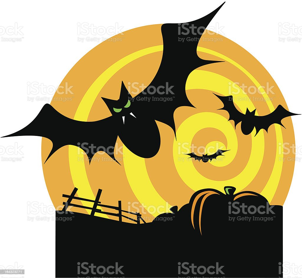 Bats with Swirling Moon royalty-free stock vector art