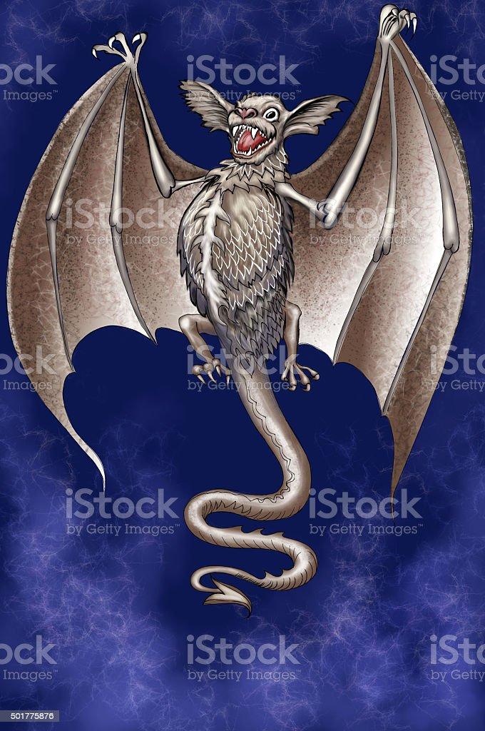 Bat-some creature flying vector art illustration